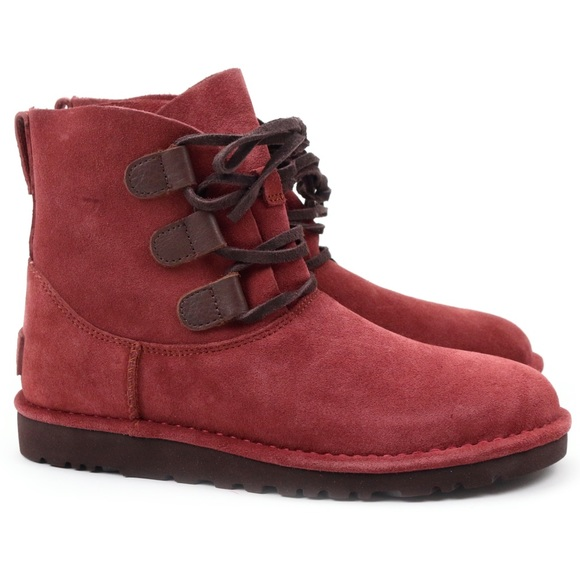 fba1bb21b10 UGG Elvi Red Clay Suede Combat Ankle Boots 🔥 Boutique